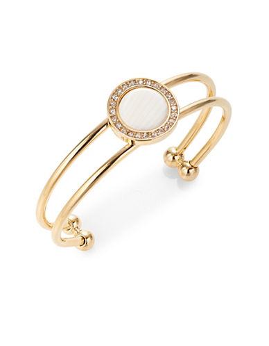 R.J. Graziano Stone Disc Bangle Bracelet-GOLD-One Size