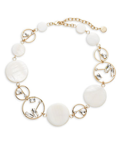 R.J. Graziano Disc and Stone Necklace-GOLD-One Size