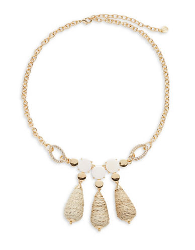 R.J. Graziano Triple Bead Drop Necklace-GOLD-One Size
