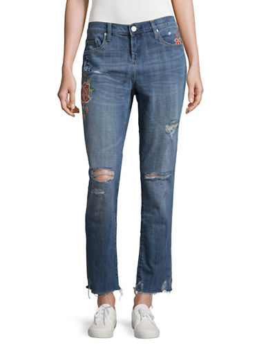 Blank Nyc Distressed Embroidered Girlfriend Jeans-WILD CHILD-24
