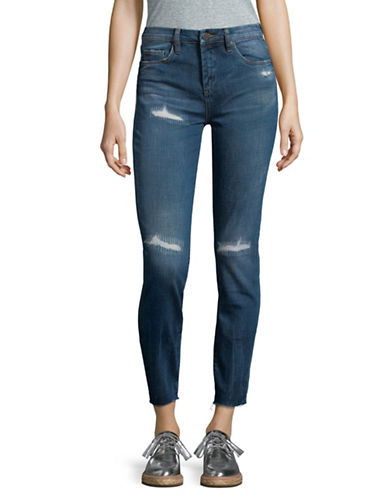 Blank Nyc Destructed Mid-Rise Skinny Jeans-BLUE-30