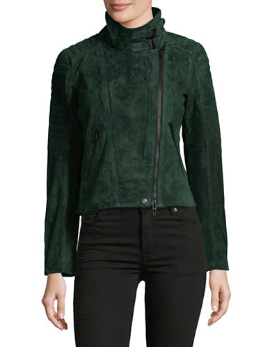 Blank Nyc Mock Neck Suede Moto Jacket-GREEN-Medium 89530865_GREEN_Medium