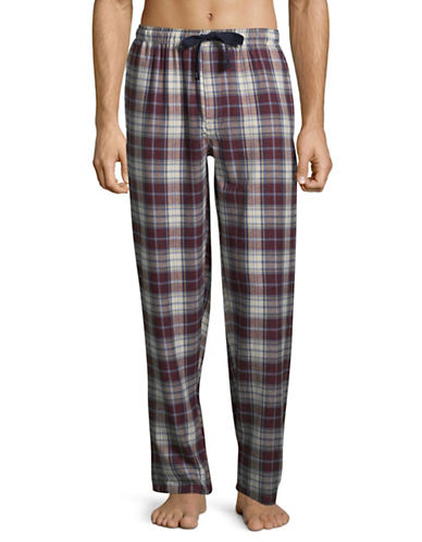 Izod Plaid Flannel Sleep Pants-RED-Small