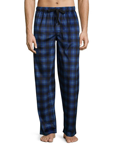 Izod Silky Fleece Plaid Sleep Pants-BLUE-Medium