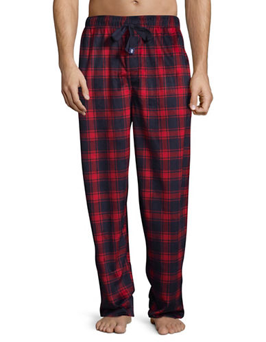 Izod Silky Fleece Plaid Sleep Pants-RED-Large