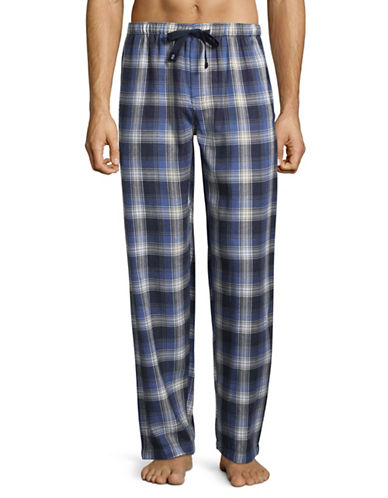 Izod Plaid Flannel Sleep Pants-NAVY-Large