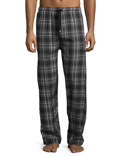 Izod Plaid Flannel Sleep Pants-GREY-Small