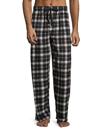 Izod Silky Fleece Plaid Sleep Pants-GREY-Small