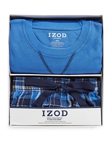 Izod Two-Piece Flannel Sleep Set-BLUE-Large
