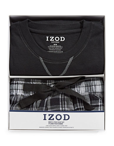 Izod Two-Piece Flannel Sleep Set-BLACK-Small