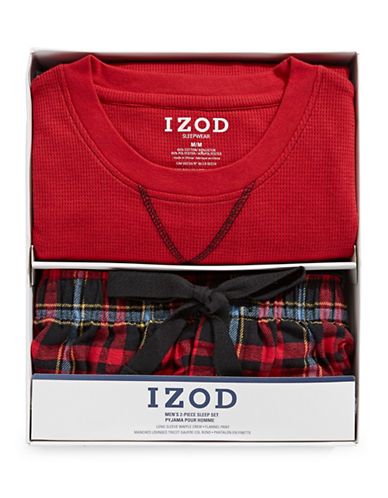 Izod Two-Piece Flannel Sleep Set-RED-Medium