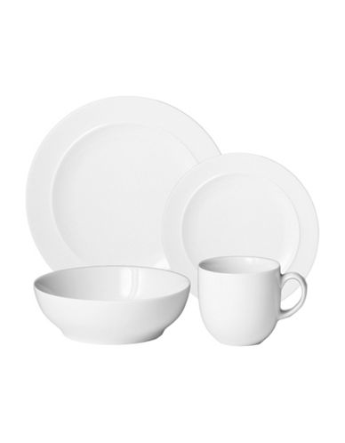 Denby Four-Piece Glazed Dinnerware Set-WHITE-One Size