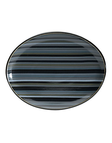 Denby Jet Stripes Oval Platter-STRIPES/BLACK-Medium