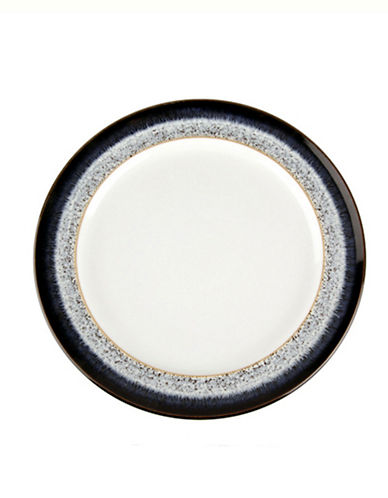 Denby Halo With Ribbon Stoneware Dinner Plate-BLACK / HALO ACCENT / WHITE-One Size