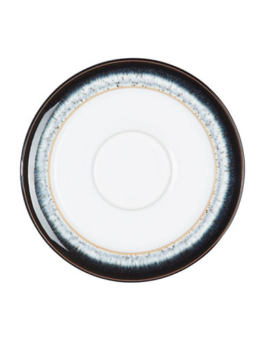 Denby Halo With Ribbon Stoneware Tea Saucer-BLACK / HALO ACCENT / WHITE-One Size