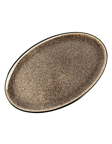 Denby Praline Stoneware Oval Platter-BROWN SPECKLE-One Size
