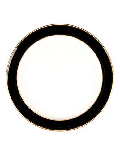 Denby Praline Noir Stoneware Wide Rim Dessert Salad Plate-BROWN SPECKLE/BLACK-One Size