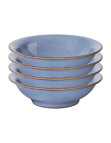 Denby Set of Four Heritage Fountain Small Shallow Bowls-BLUE-5 Inches