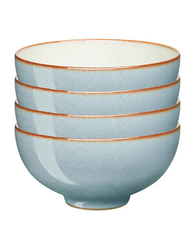 Denby Set of Four Heritage Terrace Rice Bowls-BLUE-5 Inches