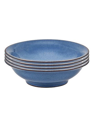 Denby Set of Four Heritage Shallow Bowls-BLUE-5 Inches