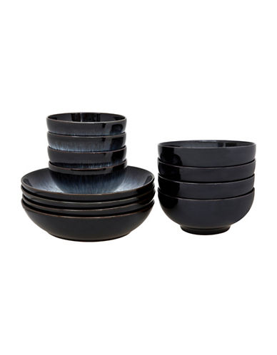 Denby Halo 12-Piece Bowl Set-BLACK-One Size