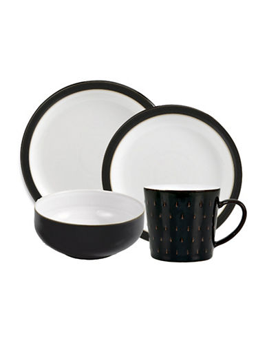Denby Four-Piece Two-Tone Dinnerware Set-BLACK-One Size