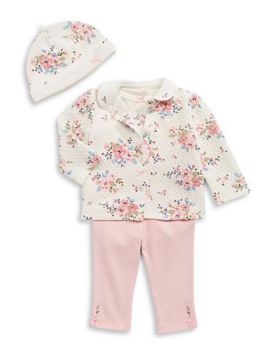 Little Me Quilted Blossoms Four-Piece Thermal Set-PINK-3 Months