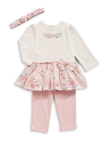 Little Me Blossoms Dress Three-Piece Set-PINK-3 Months