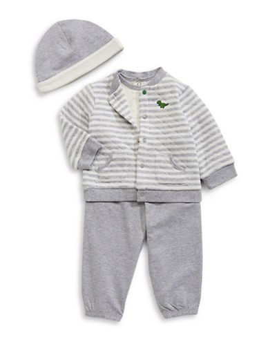 Little Me Dinosaur-Printed Four-Piece  Set-GREY-3 Months
