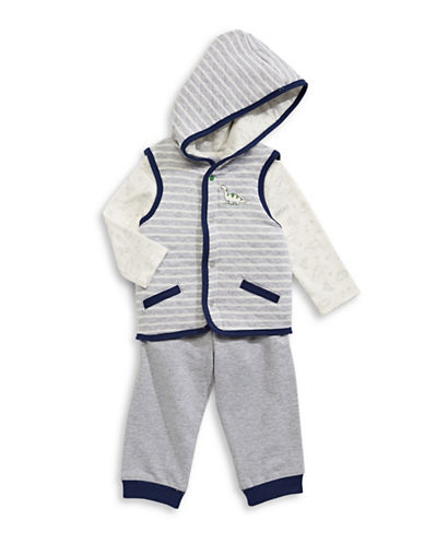 Little Me Dinosaur-Printed Vest Three-Piece Set-GREY-12 Months