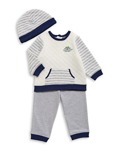 Little Me Striped Three-Piece Set-GREY-12 Months