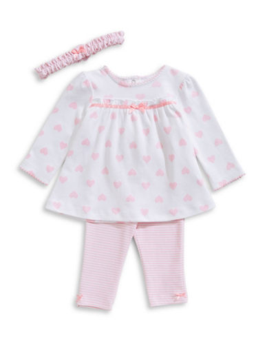 Little Me 3-Piece Heart Tunic, Striped Pants & Headband Set-PINK-12 Months
