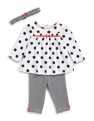 Little Me Three-Piece Polka Dot Cotton Top, Striped Pants and Headband Set-BLACK-3 Months