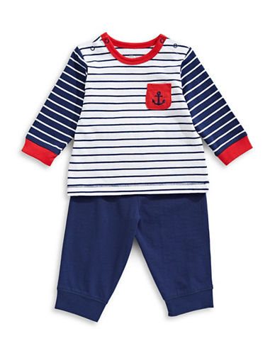 Little Me Three-Piece Anchor Jogger Set-NAVY-3 Months