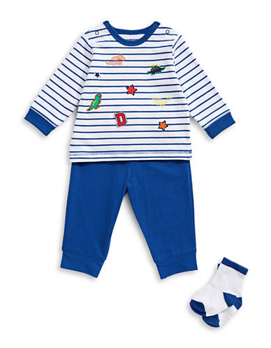 Little Me Three-Piece Striped Cotton Top, Pants and Socks Set-BLUE-3 Months