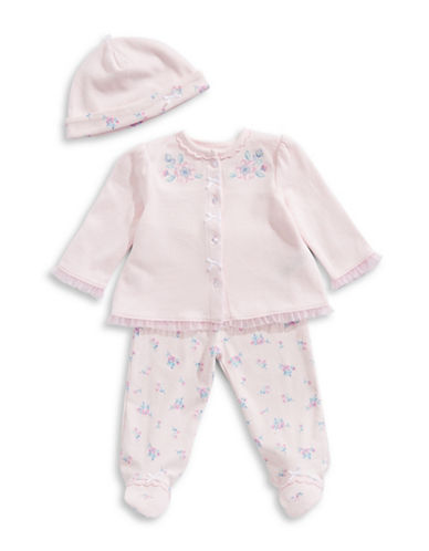 Little Me Three-Piece Floral Cotton Top, Footed Pants and Hat Set-PINK-9 Months