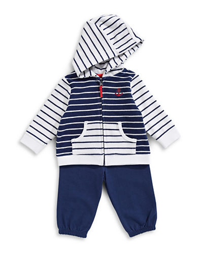 Little Me Striped Cotton Hoodie and Stretch Pants Set-BLUE-3 Months