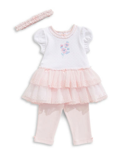 Little Me Garden Dress, Leggings and Headband Set-PINK-9 Months