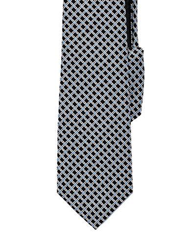 Izod Grid Neat Zip-Adjustable Tie-BLACK-One Size