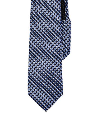 Izod Grid Neat Zip-Adjustable Tie-NAVY-One Size