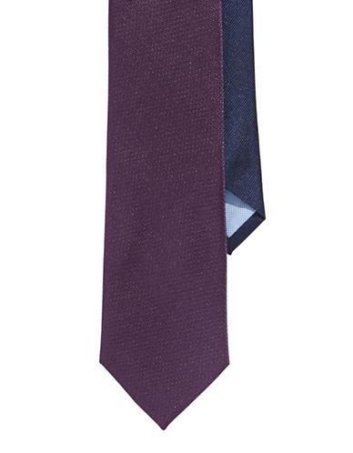 Tommy Hilfiger Silk Slim Tie-PURPLE-One Size