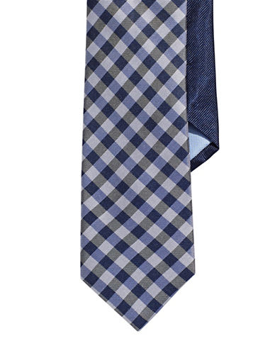 Tommy Hilfiger Silk Checkered Tie-GREY-One Size