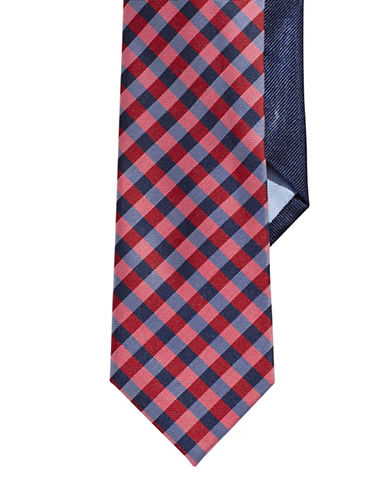 Tommy Hilfiger Silk Checkered Tie-RED-One Size