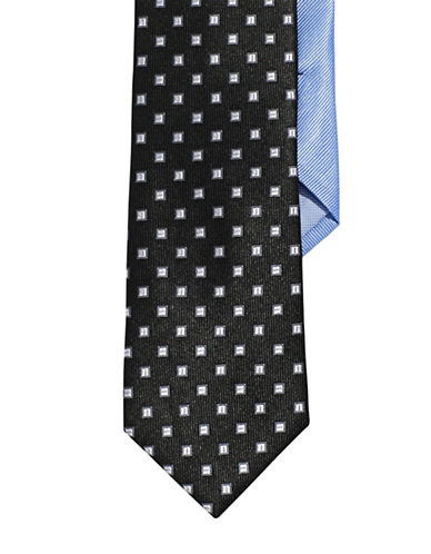 Tommy Hilfiger Silk Square Dot Neat Tie-BLACK-One Size