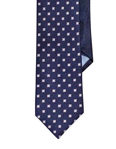 Tommy Hilfiger Silk Square Dot Neat Tie-PURPLE-One Size