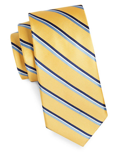 Tommy Hilfiger Core Stripe Silk Tie-YELLOW-One Size