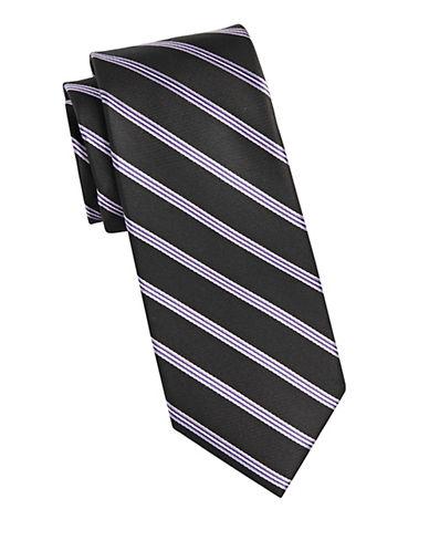 Michael Michael Kors Repp Stripe Silk Tie-BLACK-One Size