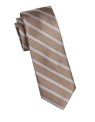 Michael Michael Kors Repp Stripe Silk Tie-BEIGE-One Size