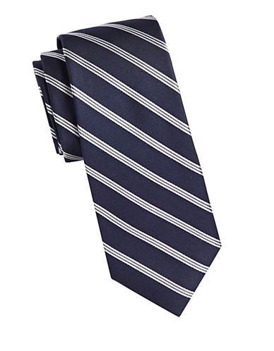 Michael Michael Kors Repp Stripe Silk Tie-BLUE-One Size