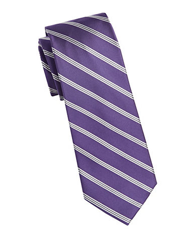 Michael Michael Kors Repp Stripe Silk Tie-PURPLE-One Size